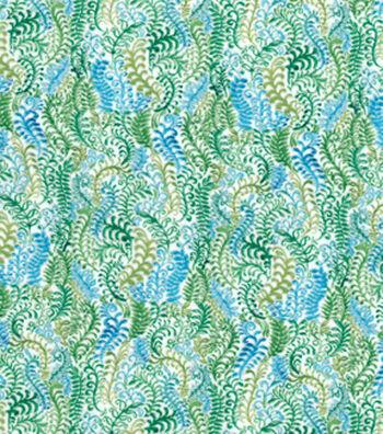 Modern Premium Cotton Print Fabric 43''-Scrolling Feathers on White