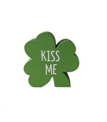 St. Patrick's Day Shamrock Word Block-Kiss Me