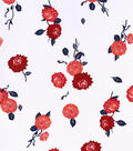 Stretch Twill Fabric -Red Floral on White
