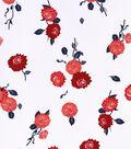Stretch Twill Fabric 57\u0027\u0027-Red Floral on White