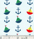Nursery Flannel Fabric -Sailboats Anchors Dots Bright