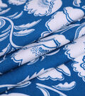 Silky Crepe Fabric-White Folk Floral on Teal