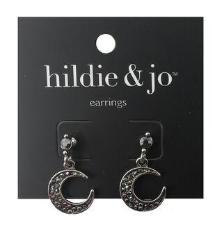 hildie & jo 1''x0.5'' Crescent Antique Silver Earrings