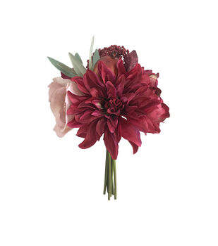 Blooming Autumn Peony & Dahlia Bouquet-Burgundy