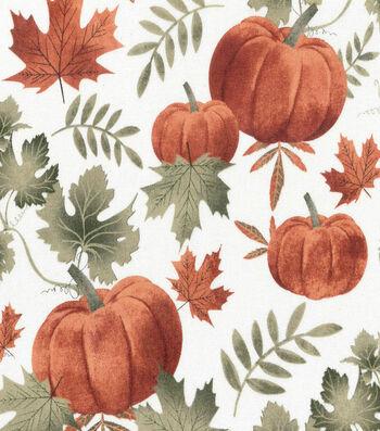"Harvest Cotton Fabric 44""-Autumn Pumpkins on Cream"