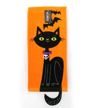 Maker's Halloween Decor 16''x26'' Towel-Figural Cat