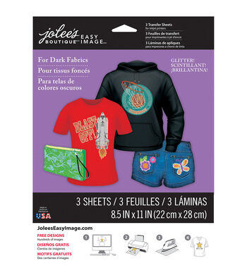 """Jolee's Easy Image Transfer Sheets 8.5""""X11"""" Glitter For Dark Fabrics"""