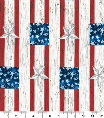 Patriotic Cotton Fabric-Galvanized Block Stars