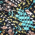 Fast Fashion Knit Fabric-Tean & Teal Abstract Diamond