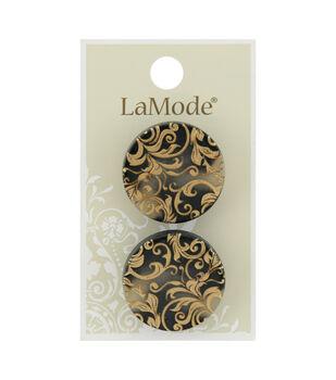 La Mode 2 pk 27 mm Shank Buttons-Gold Damask Design on Black