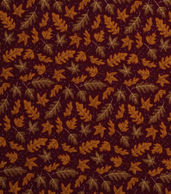 "Holiday Showcase Harvest Cotton Fabric 43""-Tossed Leaves"