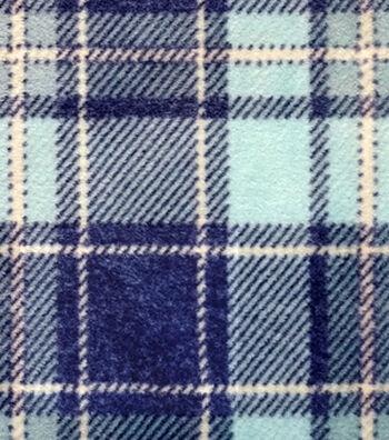 Luxe Fleece Fabric -Navy & Light Blue Plaid