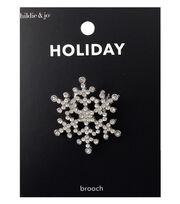hildie & jo Holiday Brooch-Rhinestone Silver Snowflakes, , hi-res