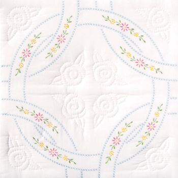 Jack Dempsey Stamped White Quilt Blocks Interlocking Wedding