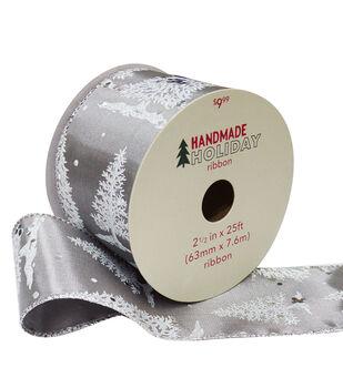 Handmade Holiday Christmas Ribbon 2.5''x25'-Silver Trees on Gray