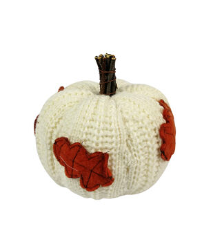 Simply Autumn Small Sweater Pumpkin with Leaves-Cream