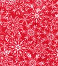 Anti-Pill Plush Fleece Fabric-Snowflake On Red