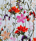Simply Silky Print Stretch Crepe Fabric 57\u0022-Red Garden Floral