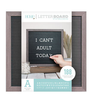 DCWV Home 12''x12'' Black Letter Board with 1'' White Letters