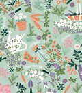 Snuggle Flannel Print Fabric -Garden Party Mint