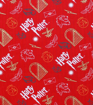 Christmas Harry Potter Metallic Cotton Fabric-Artifacts on Red