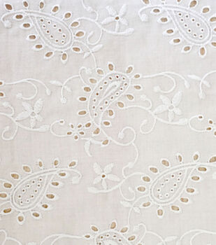 Warm Weather Apparel Fabric-White Paisley Eyelet