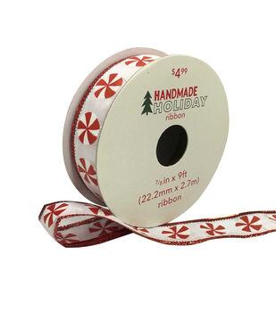 Handmade Holiday Christmas Ribbon 7/8''x9'-Peppermints