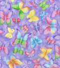 Novelty Cotton Glitter Fabric 44\u0022-Butterfly on Purple
