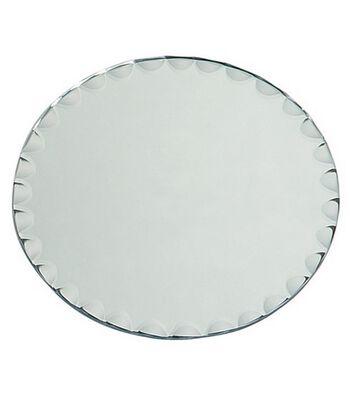 """8"""" Round Glass Mirror W/Scallop Edge"""
