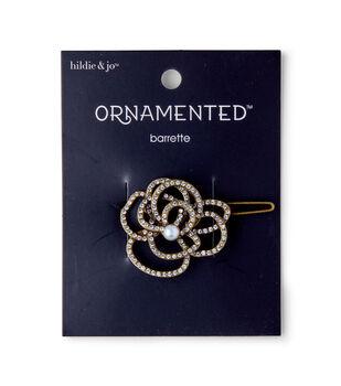 hildie & jo Ornamented Open Flower Antique Gold Barrette
