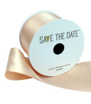 Save the Date Satin Ribbon 2.5''x30'-Peach
