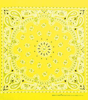 Carolina 21''x21'' Cotton Bandana-Neon Yellow Paisley