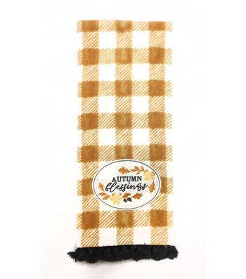 Simply Autumn 16''x28'' Towel-Autumn Blessings & Orange Plaid