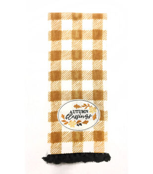 Simply Autumn 16''x28'' Towel-Autumn Blessings & Orange Plaid