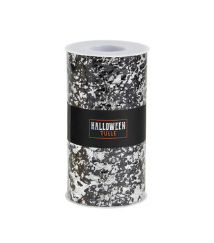 Halloween Tulle-Monster Mesh Black With Silver Foil