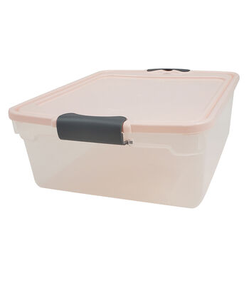 Homz 15 Quart Sweater Pearl Lid Silver Latch Storage Container