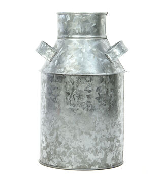 Hosley Galvanized Metal Milk Can