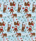 Snuggle Flannel Fabric-Holiday Sloth