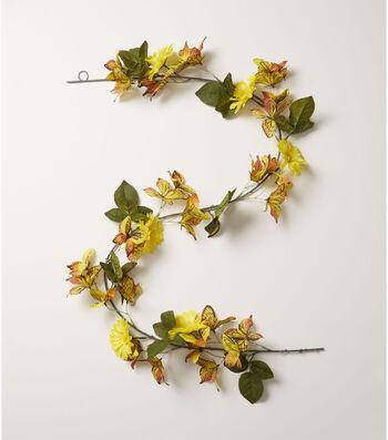Fresh Picked Spring 66'' Butterfly & Gerbera Daisy Garland-Yellow