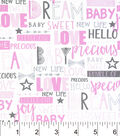 Nursery Cotton Fabric -Baby Words