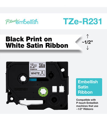 Brother P-touch Embellish Satin Ribbon 0.47''x13.1'-Black on White