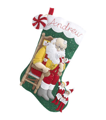 "Elf On The Shelf Santa&Scout Stocking Felt Applique Kit-18"" Long"