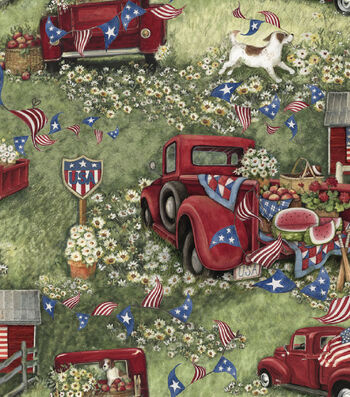 Susan Winget Patriotic Cotton Fabric 43''-Patriotic Picnic