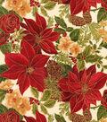Christmas Cotton Fabric-Cream Allover Poinsettias