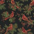 Christmas Cotton Fabric-Cardnial Berry Black Metallic