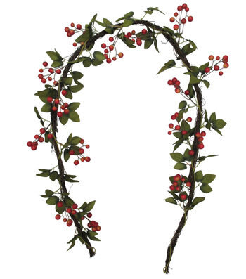 Blooming Autumn 66'' Berry & Leaves Garland-Red