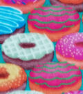 Super Fleece Fabric -Colorful Donuts