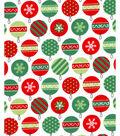Holiday Showcase Christmas Cotton Fabric 43\u0027\u0027-Packed Ornaments on White