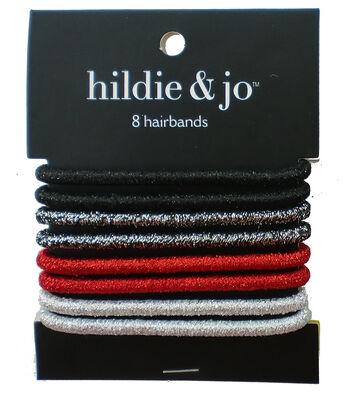 hildie & jo 8 pk Hairbands-Black, Red & Silver