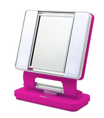 OttLite Lighting 26 W Dual-sided Natural Makeup Mirror-Hot Pink